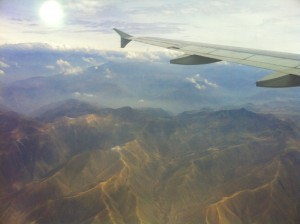 View from my window seat, while flying over the Andes.